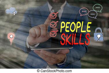 verksam, längs, foto, underteckna, skills., folk, text, ...