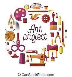 verkstad, vektor, konst, affisch, handgjord, skapande, ...