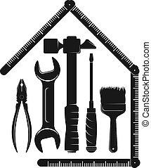 verktyg, hus, reparera, service