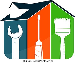 verktyg, hus, symbol, reparera