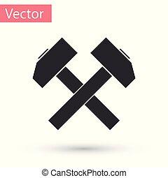 verktyg, isolerat, illustration, grå, bakgrund., vektor, korsat, två, hammare, repair., vit, ikon