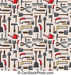 verktyg, mönster, seamless, trädgård