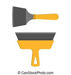 verktyg, repair., hem, spatula., gul, hushåll