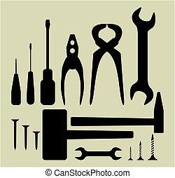 verktyg, sätta, hand, silhuett