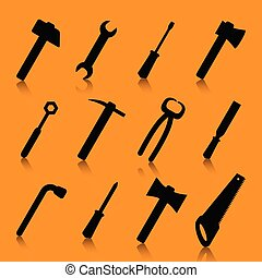 verktyg, sätta, silhuett