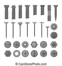 verktyg, set., spika, reparera, metall, kollektion, hem