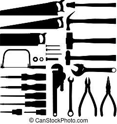 verktyg, silhuett, kollektion, hand