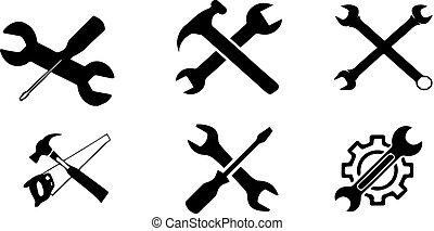 verktyg, tecnician, vit fond, ikon