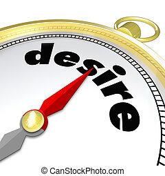 verlangen, woord, kompas, richtend aan, hartstocht, wants,...