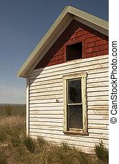 verlassen, bauernhofhaus, geist, heimstätte, bleibt, landwirtschaftliches feld