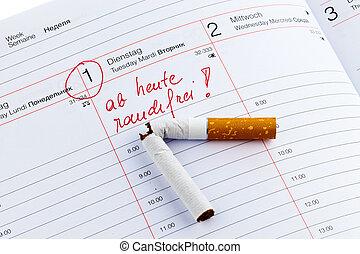 verlassen, smoking., guten, auflösung, kalender