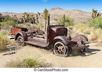 verlassenes auto, in, wüste