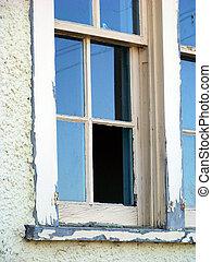 verlaten, missende , rustiek, glas venster, ruit, de bouw.
