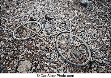 verlaten, rust., fiets, oud, naambord, fiets, strand.