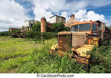 verlaten, vrachtwagen, door, oud, suiker, molen, op, koloa, kauai