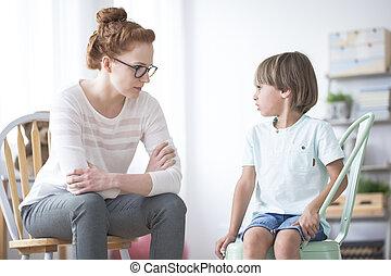 verlegen, jongen, autisme, psychotherapist