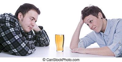verleide, door, alcohol