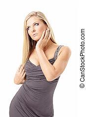 verleidelijk, blonde, in, een, jurkje