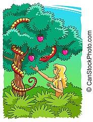 verleidt, slang, verboden, eva, fruit, nemen