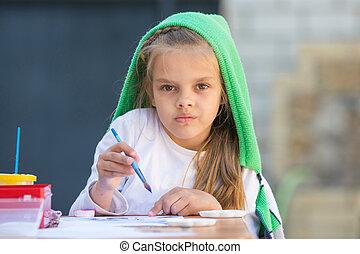 verlekkeert, enthousiast, keek, nadenkend, tafel, meisje, schilderij, frame