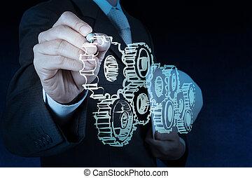 verlekkeert, tandwiel, zakenman, hand, succes