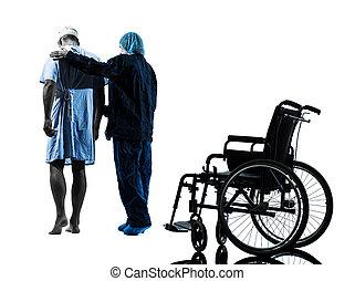 verletzt, mann- gehen, weg, von, rollstuhl, mit, krankenschwester, silhouette