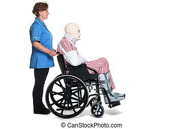 verletzt, mann, in, rollstuhl, mit, krankenschwester