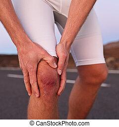 verletzung, läufer, athlet, -, knie, sport