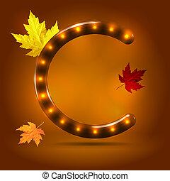 verlicht, alfabet, op, herfst, retro, glanzend