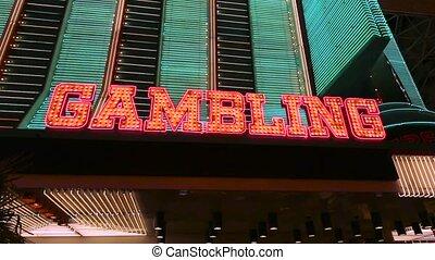 verlicht, geluksspelletjes, meldingsbord, op, casino, ingang