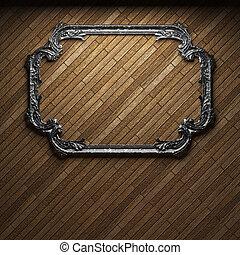 verlicht, houten muur, en, frame