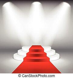 verlicht, podium, vector, toneel, rood tapijt
