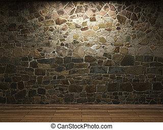 verlicht, steenmuur