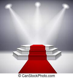 verlicht, toneel, podium, met, rood tapijt