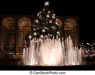 verlicht, verfraaide, kerstboom, fonteinen
