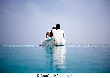 verliefd, bruid en bruidegom, zijn, het poseren, in,...