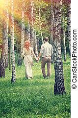 verliefd koppel, in het park