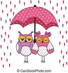 verliefd koppel, van, uilen, met, paraplu