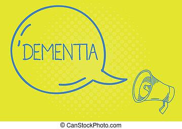 verlies, concept, woord, cognitief, zakelijk, tekst, ziekte, schrijvende , hersenen, geheugen, functioneren, beschadiging, dementia.