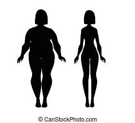 verlies, gewicht, slank, dik, girl., fitness.