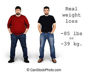 verlies, na, gewicht, voor