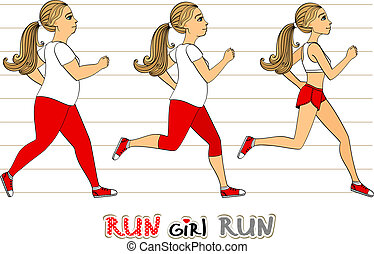 verlies, rennende , vrouw, gewicht, voortgang