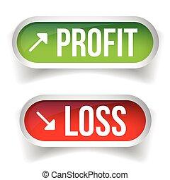 verlies, winst, knoop, tabel, vector, liggen