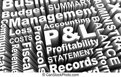 verlies, winst, p&l, illustratie, begroting, woorden, financiën, 3d