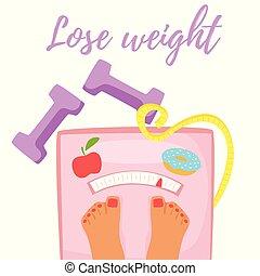 verliezen, concept, gewicht