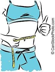 verliezen, vrouw, gewicht, illustratie