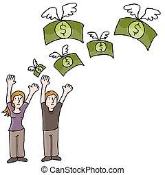 verliezend geld, paar