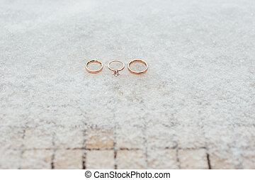 verlobungsringe, schnee, wedding