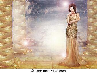 verlocken, fantasy., dame, aus, glam., hintergrund, stilvoll, kleiden, abstrakt