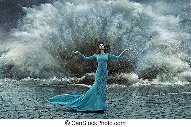 verlockend, elegant, frau, aus, der, sand&water, sturm